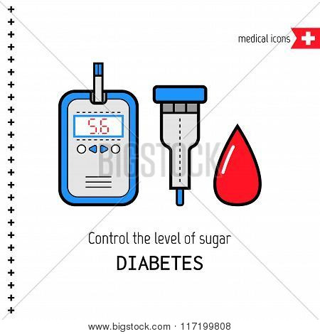 Diabetes. Medical flat icons. Check the level of glucose in the blood