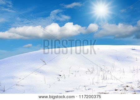 snow and ice with beautiful sky