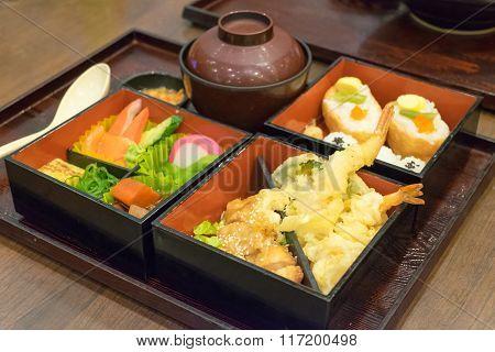 Bento Set Of Prawn Tempura And Chicken Teriyaki