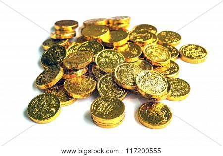 Group of gold coins.