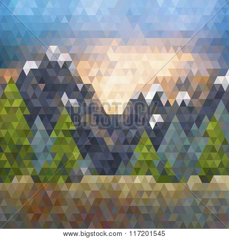 Triangle low poly mountain landscape