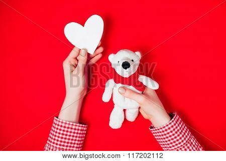 woman holding white bear on red