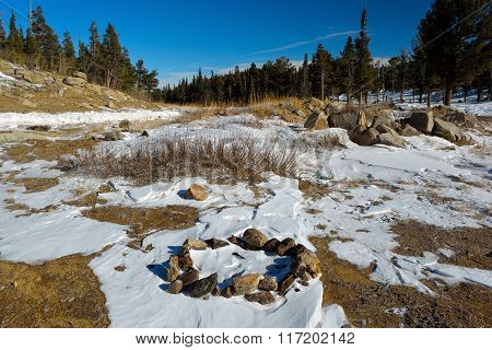 Camp Fire Rock Circle In Snow