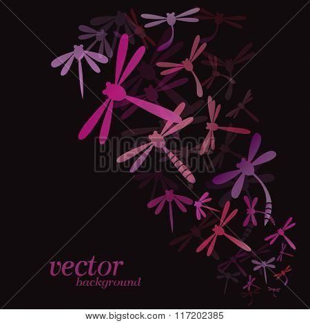 Dragonfly Design On Black Background - Vector Illustration, Background