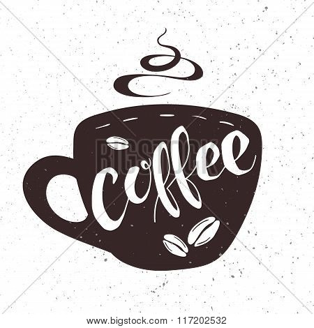 Vector Hand Drawn Lettering Coffee Badge, Labels, Signs. Monochrome Design With Stylish Elements.