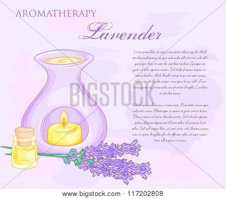 Vector Illustration Of Oil Burner With Lavender Flovers And Essential Oil