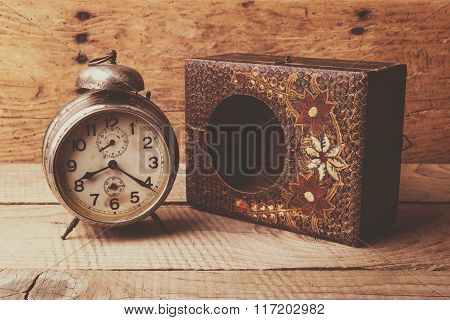 Antique Clock With Carved Wooden Box