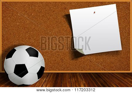 Soccer Ball And Cork Board With Copy Space
