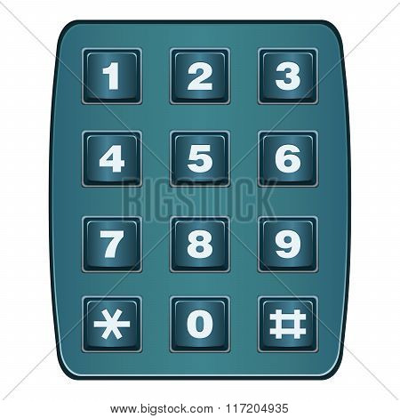 Classic Landline Telephone Keypad Isolated On White Vector