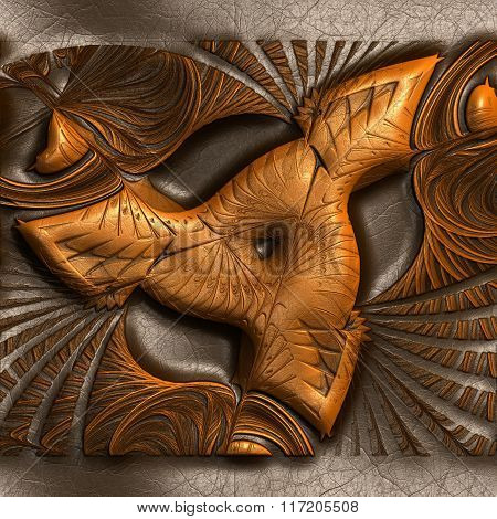 Background With Embossed Fractal On Leather