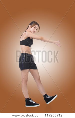 Sport girl of Asian doing stretch exercise, full length portrait isolated on white background.