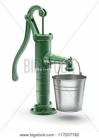 Water pump with the bucket
