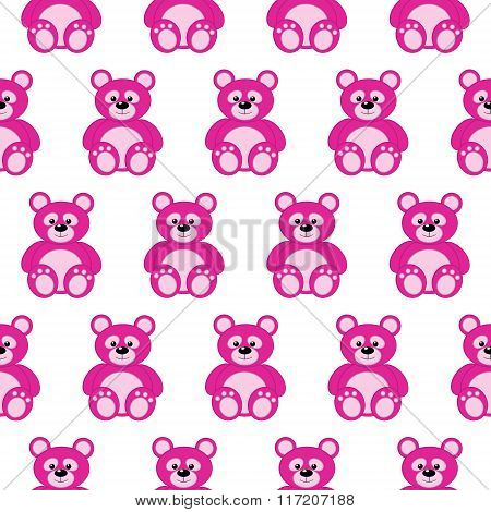 Seamless Pattern With Pink Teddy Bears