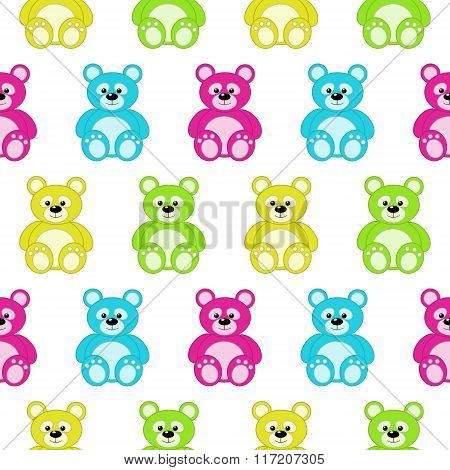 Seamless Pattern With Colorful Teddy Bears