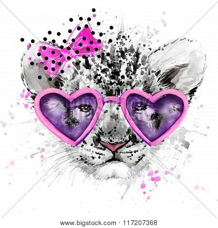 Lion cub. Lion T-shirt graphics, watercolor Lion cub. illustration watercolor cute Lion cub  for fas