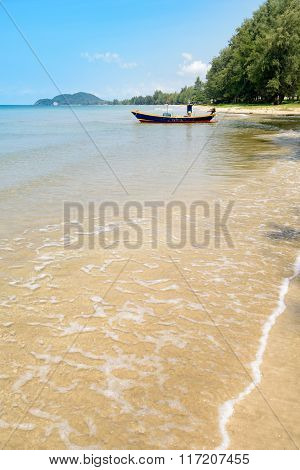Colourful Sea Fishing Boat Moored Near Tropical Beach Thailand Asia
