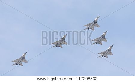 Five Mig-29 Fighters Flying Wedge On Victory Day