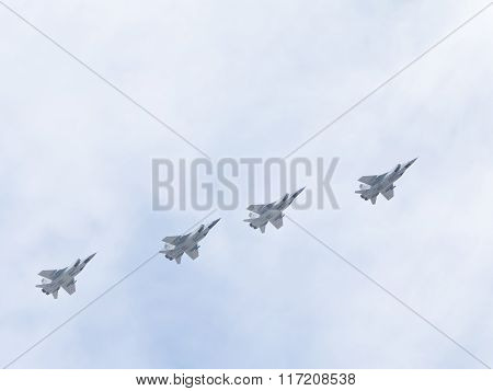 Four Mig-31 Flying Formation On Victory Day