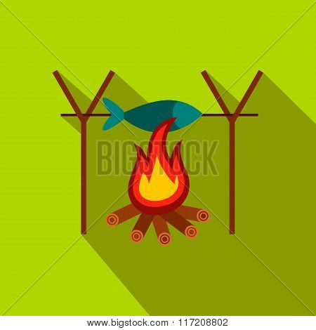 Fresh fish above fire flat icon
