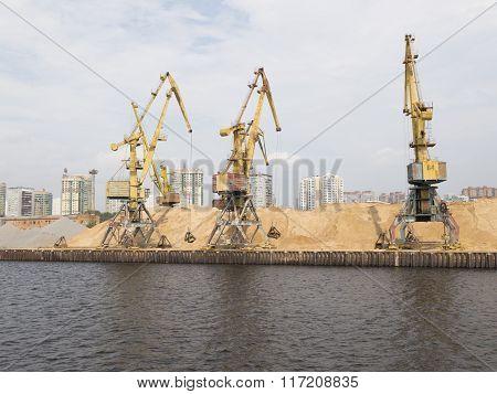 Yellow Harbor Cranes In North Port