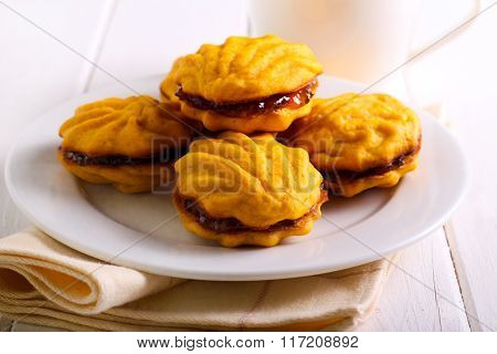 Jam Filling Biscuits On Plate