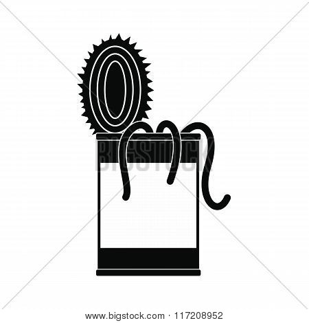 Tin of earthworms black simple icon