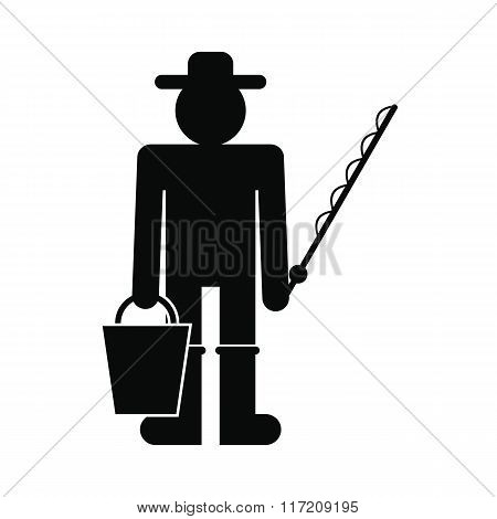 Fisherman with bucket and fishing rod icon