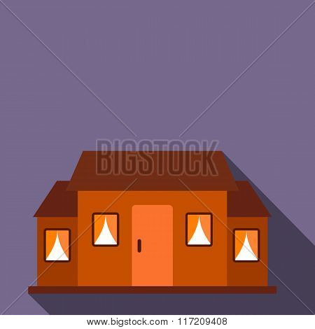 Small brown cottage flat icon