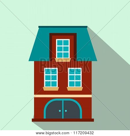 House with a mansard and garage flat icon