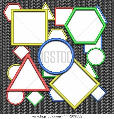 Design elements - set of multicolored geometric 3D frame. Colors - blue yellow green red. All with s