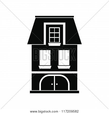 House with a mansard and garage icon