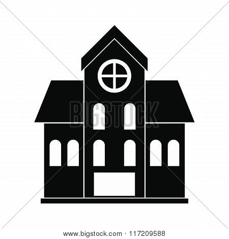 House with a mansard black simple icon