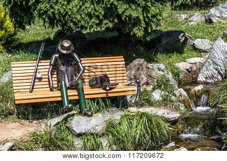 Fisherman resting on a bench, Turin, Italy