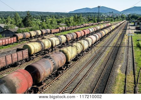 Freight Trains.railroad Train Of Tanker Cars Transporting Crude Oil On The Tracks.