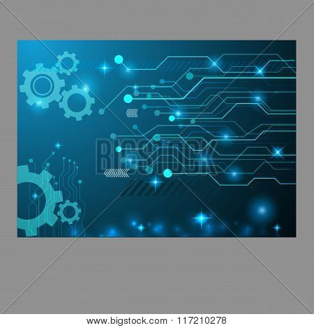 Abstract Technology Gear Circuit Board, Vector Background Eps 10 Design