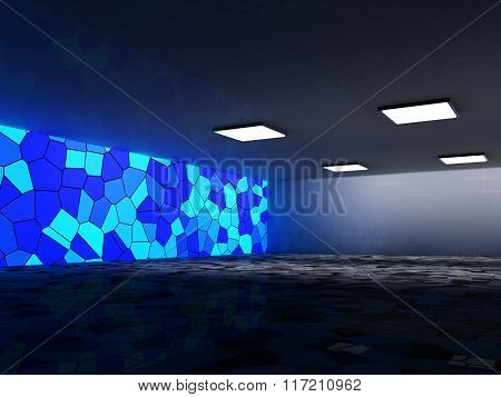 Abstract architecture background, empty interior and walls. 3d r