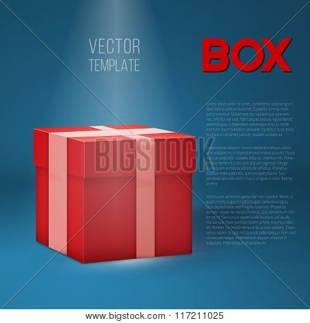Realistic 3D Vector Present Gift Box on Stage Light. Birthday Ve