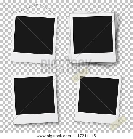Blank Vintage Photo Frame Mockup Isolated on a Transparent PS St