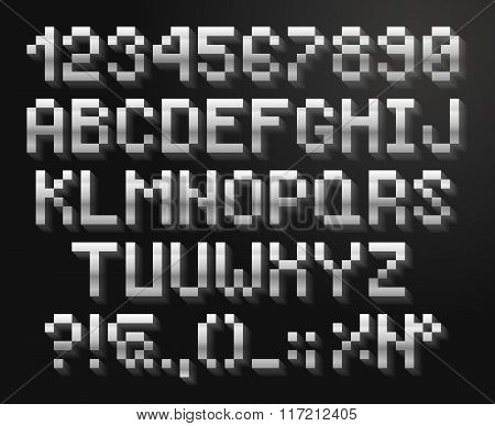 Pixel font, alphabet And numbers