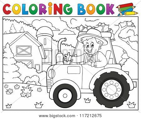 Coloring book tractor near farm theme 1 - eps10 vector illustration.