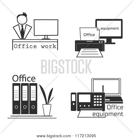 Icons set with Office equipment. Modern logo collection.