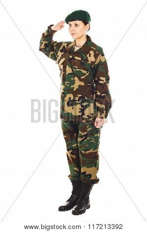 Soldier Girl In The Military Uniform