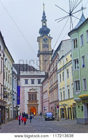 LINZ AUSTRIA - JANUARY 6 2014: Street view to Minorite Church in Linz in Austria in winter