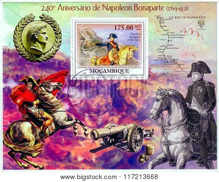 Mozambique - Circa 2009: A Stamp Printed In Mozambique Showing Battle Of Waterloo, 240Th Anniversary