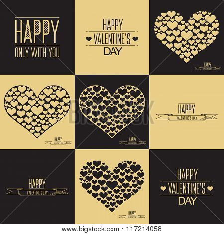 Happy Valentines day cards. Set of heart sign symbols. Heart of many hearts. Black and gold color.