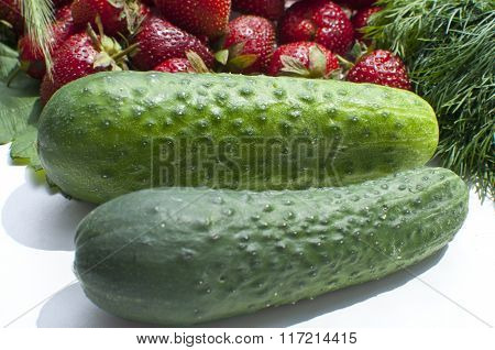 Strawberries, cucumbers and dill on a white background.