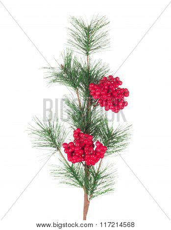 Artificial red berry and pine branch.