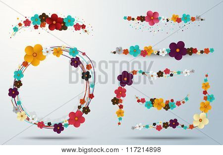Floral Frame Collection. Floral Elegance Frames And Holiday Symbols. Vector Stock.