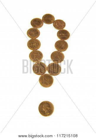 Exclamation mark of gold coins on white
