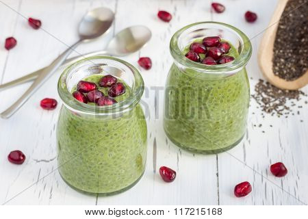 Chia Seed Pudding With Matcha Green Tea, Garnished With Pomegranate